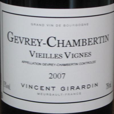 Vincent Girardin Gevrey Chambertin Village Vieilles Vignes 2007