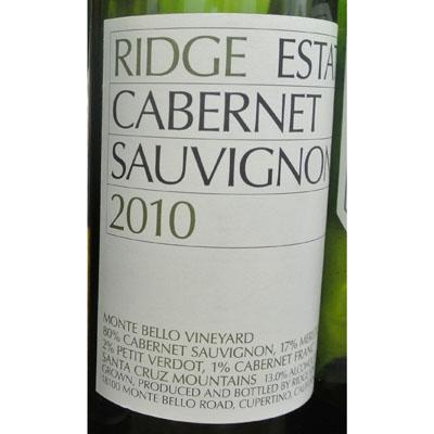 Ridge Estate Cabernet Sauvignon 2010