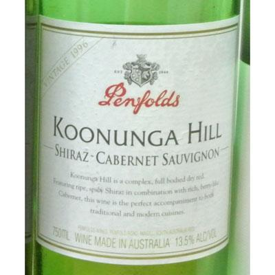 Penfolds Koonunga Hill Shiraz - Cabernet Sauvignon South Australia 1996
