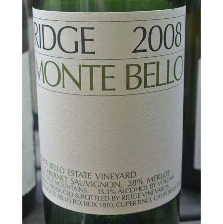 Ridge Vineyards Monte Bello Santa Cruz Mountains 2008
